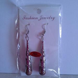 "Earrings 2.5"" Silver tone filigree Wood Fishhook"